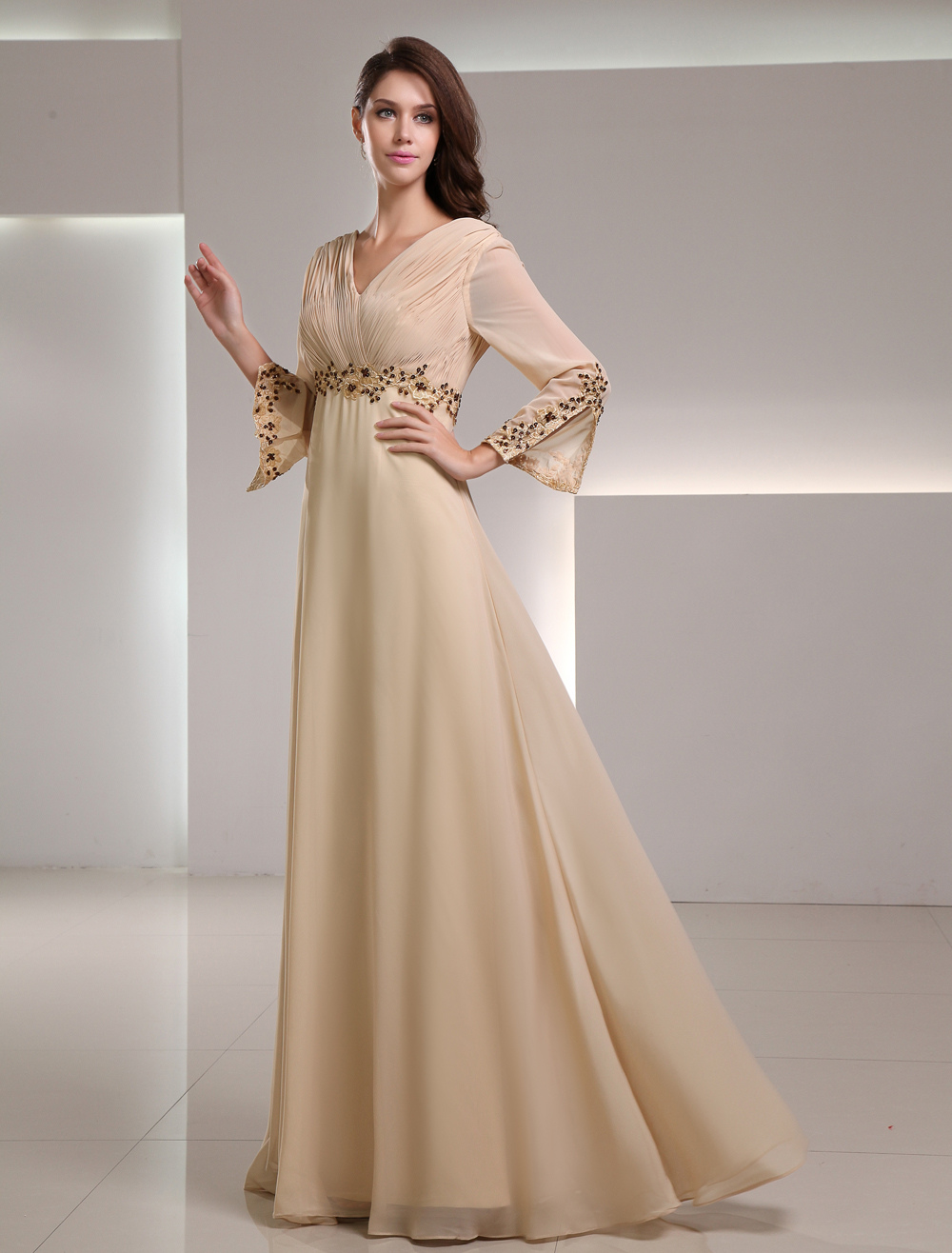 Gold Champagne Chiffon Applique V-Neck Women's Evening Dress