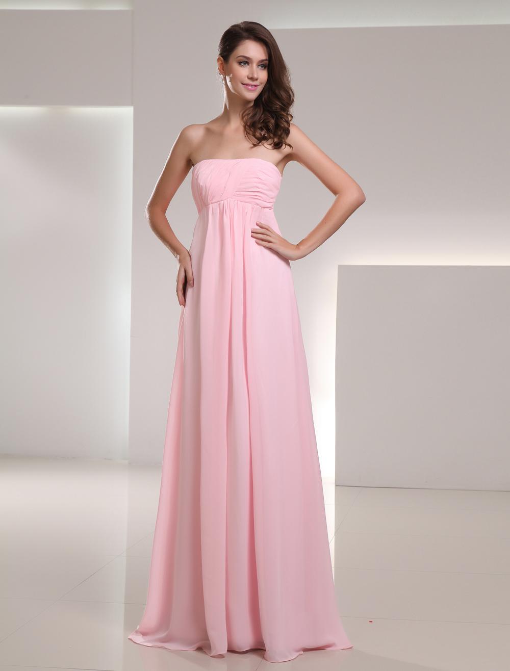 Vestido de damas de honor de chifón rosado sin tirantes - Milanoo.com