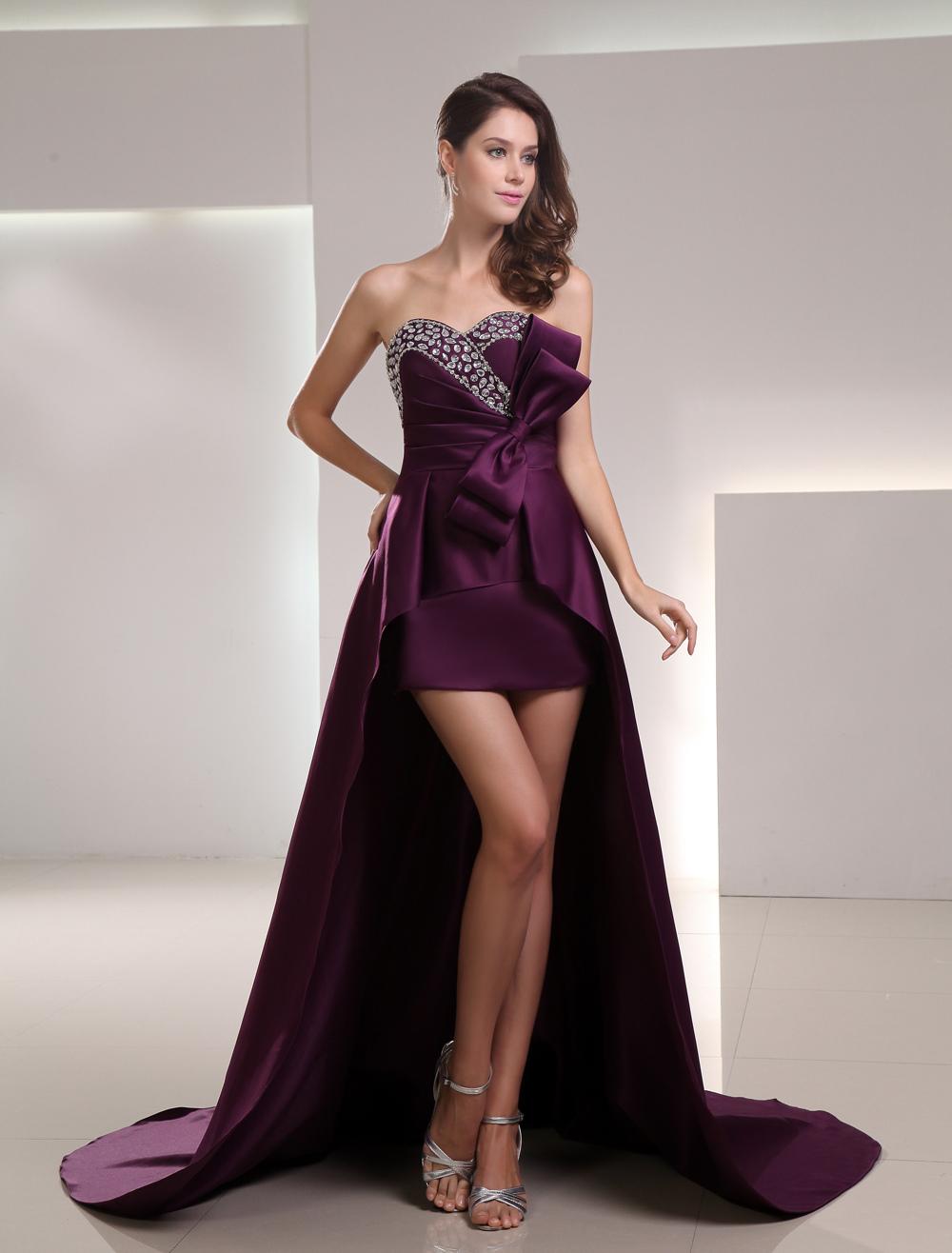 Sheath Grape Satin Sweetheart Low High Prom Dress