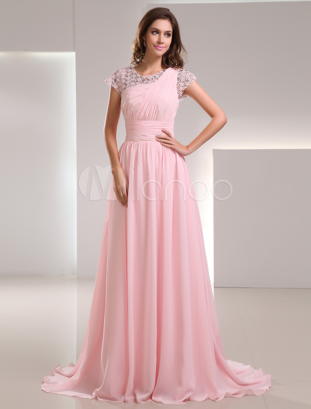 Buy Sweet Pink Chiffon Lace Jewel Neck Fashion Evening Dress for $139.99 in Milanoo store