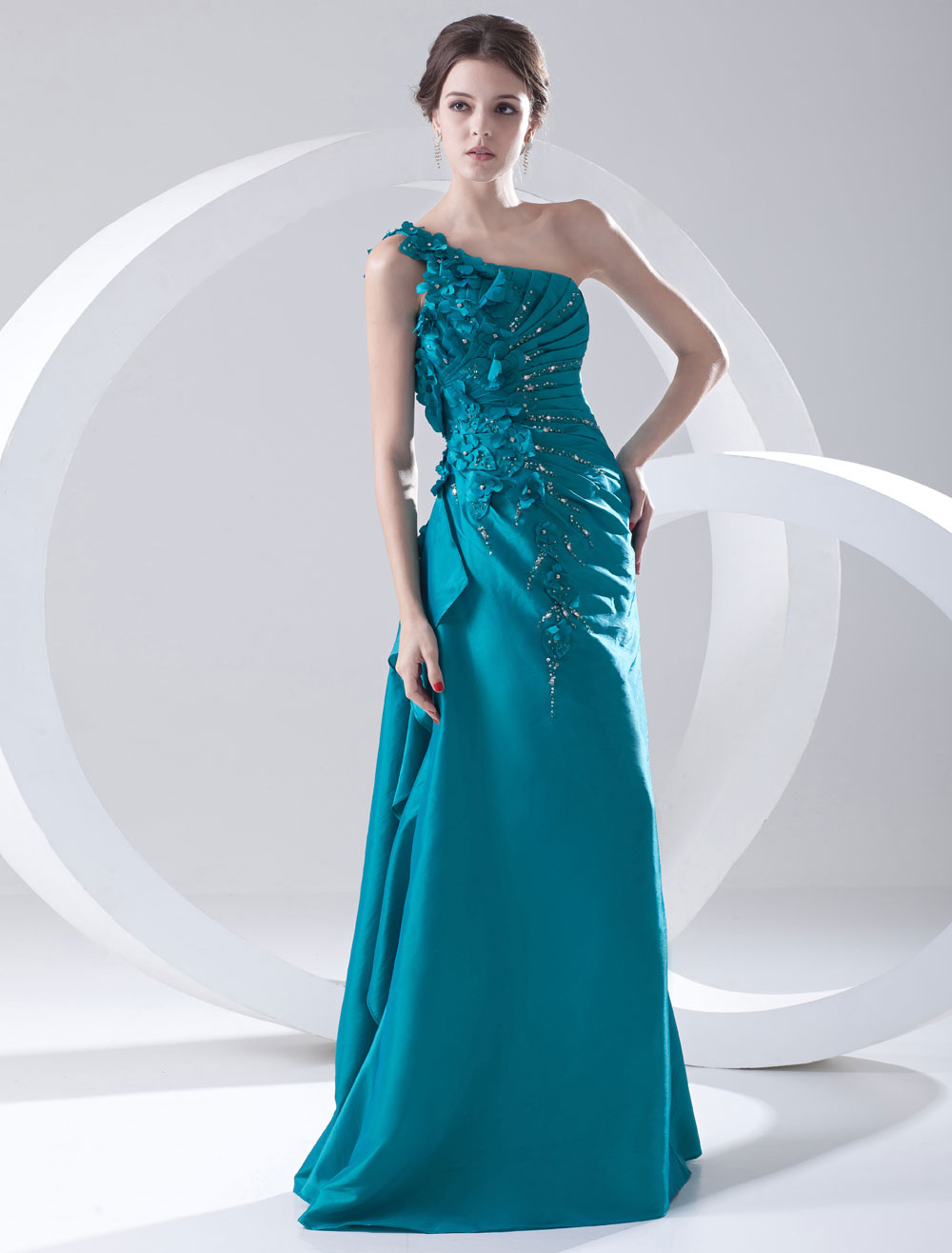 Taffeta Evening Dress One Shoulder Flowers Beading Long Prom Dress Teal Ruched Floor Length Formal Dress