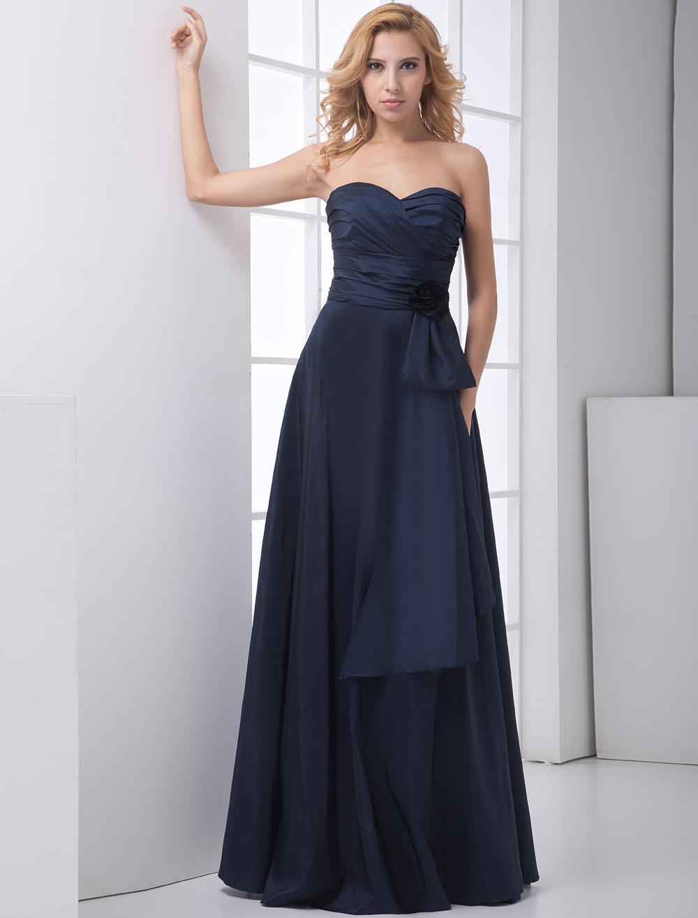 Buy A-line Dark Navy Sweetheart Neck Floor-Length Bridesmaid Dress for $104.39 in Milanoo store