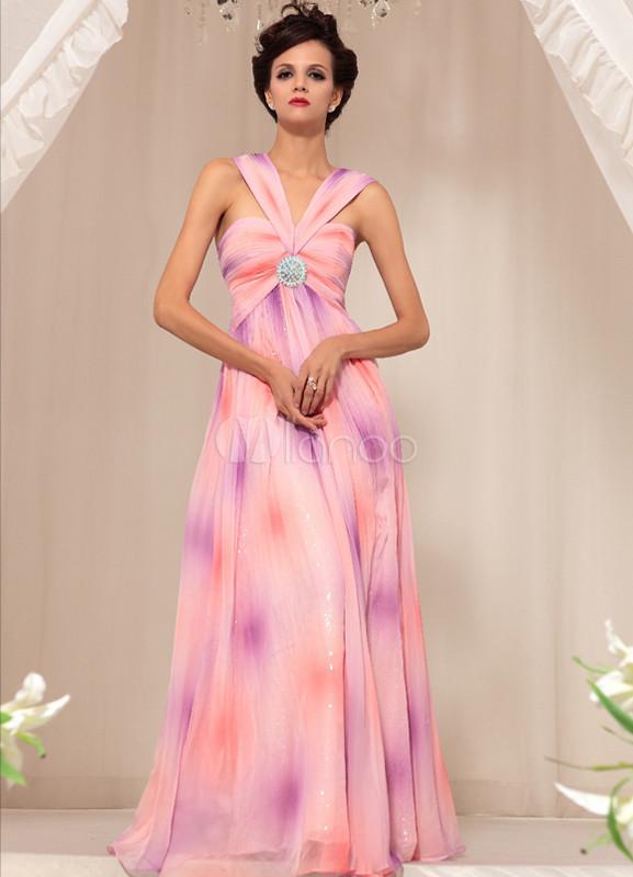 800568e4b Vestido de noche de gasa estampada de color rosado con escote en V sin  mangas ...