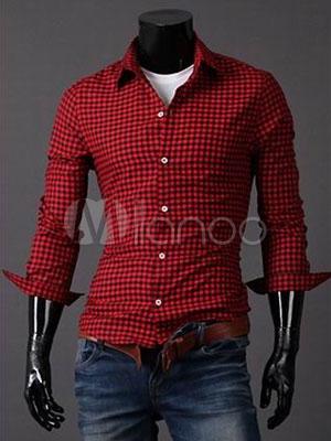 Red Poplin Plaid Casual Shirt For Men