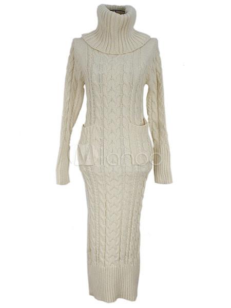 822c97f8474 Fabuleuse robe pull en laine beige imprimé floral tricoté moulant avec col  roulé -No.