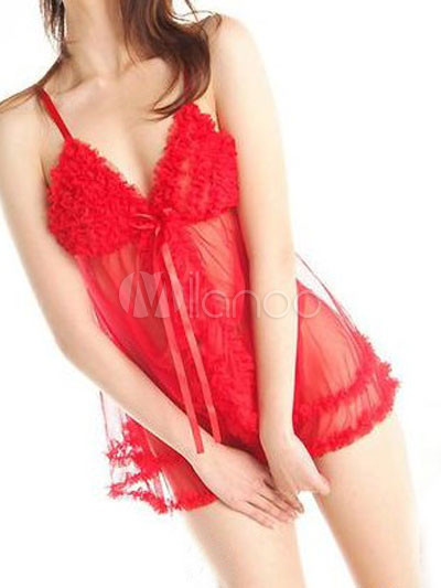 Buy Red Polyester Semi-sheer Babydoll for $8.99 in Milanoo store