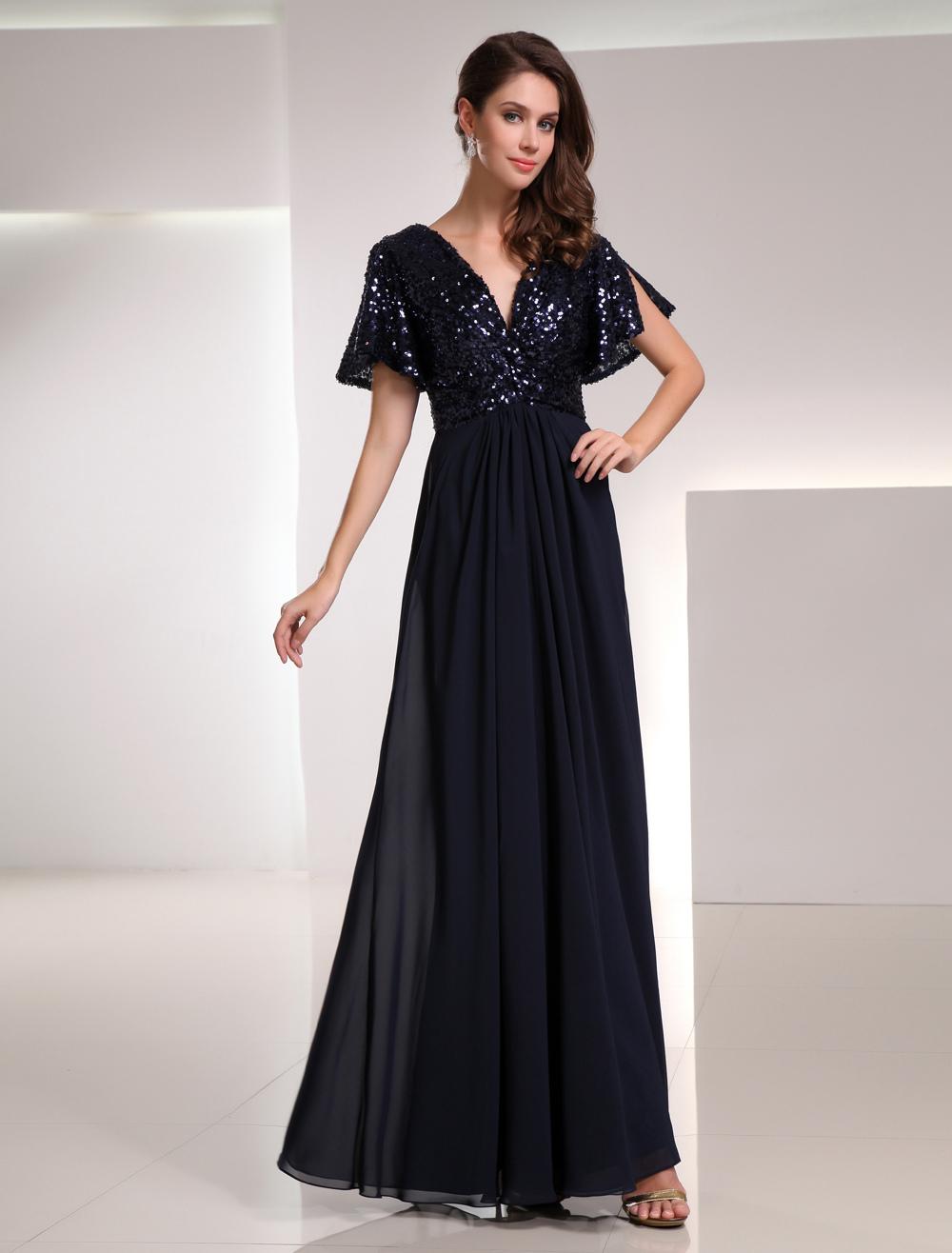 Dark Navy Bridesmaid Dress Sequins Backless Chiffon Dress
