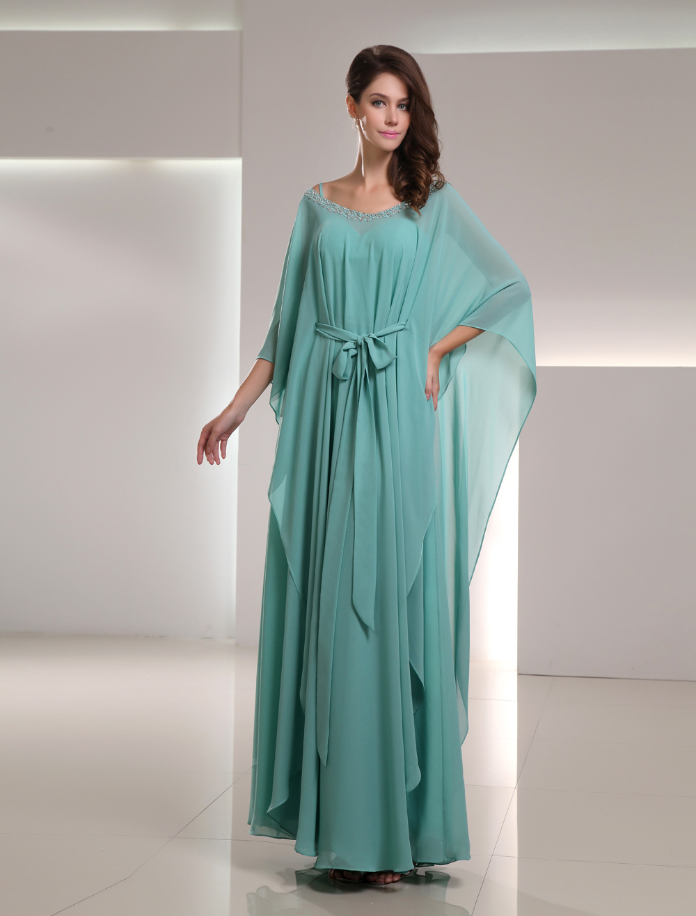 Buy Chiffon Mother Of The Bride Dress 2 Piece Mint Green Beading Floor Length Wedding Party Dress for $118.99 in Milanoo store