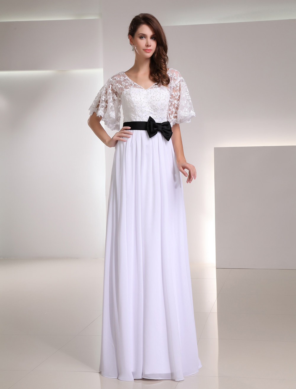 White Chiffon Sash V-Neck Evening Dress