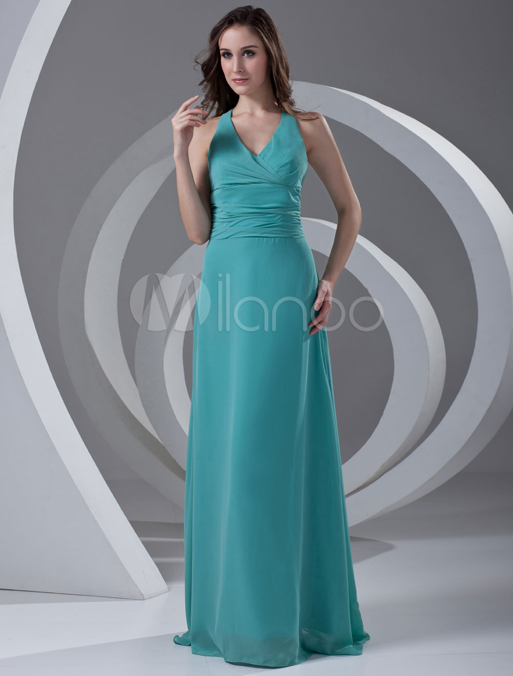 Buy Chiffon Bridesmaid Dress Halter Turquoise V Neck Long Prom Dress Backless Ribbon Bow Floor Length Wedding Party Dress for $112.49 in Milanoo store