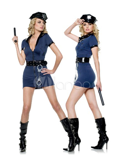 Buy Two Tone Cop Costume For Halloween Sexy V Neck Costume Cosplay Halloween for $24.29 in Milanoo store