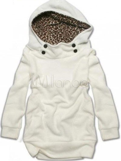White Leopard Print Women's Hoodie Cheap clothes, free shipping worldwide