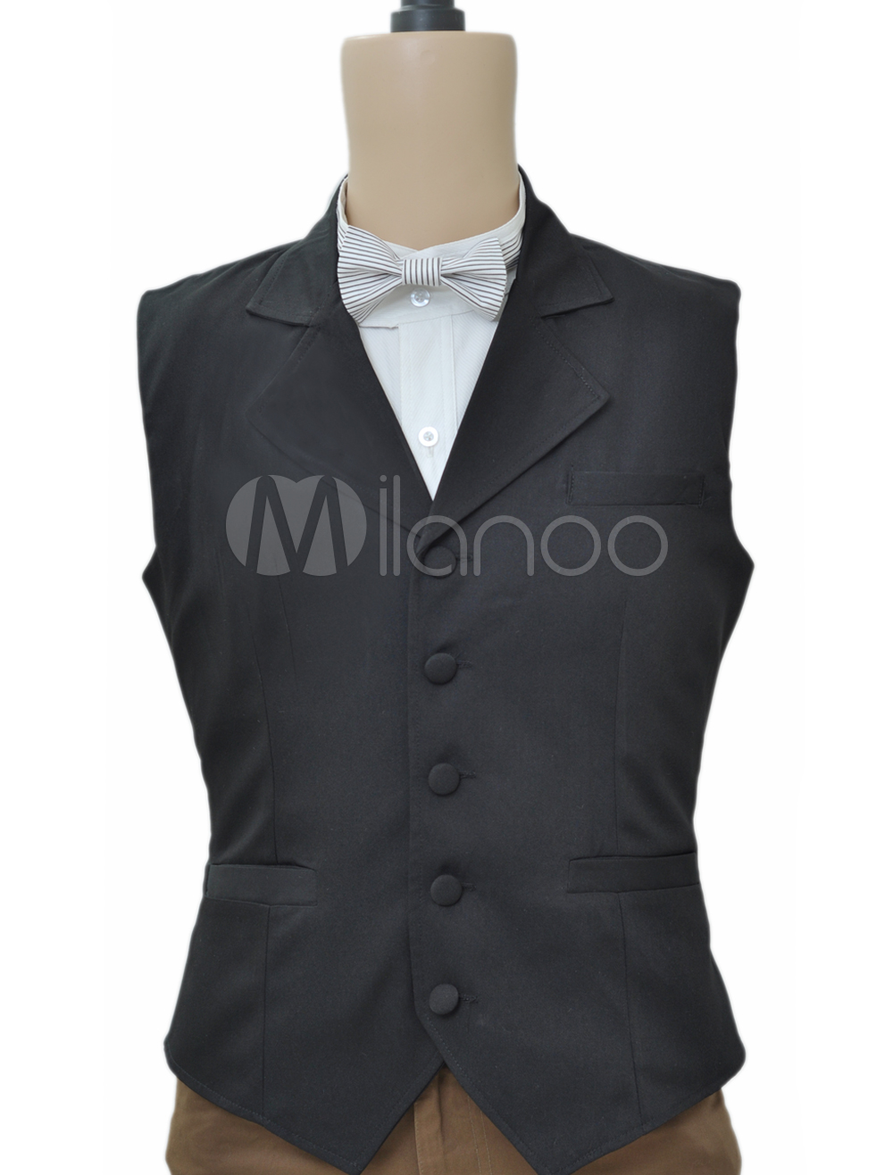 Buy Black Steampunk Waistcoat Vintage Costume Men's Retro Suit Vest Halloween for $53.99 in Milanoo store