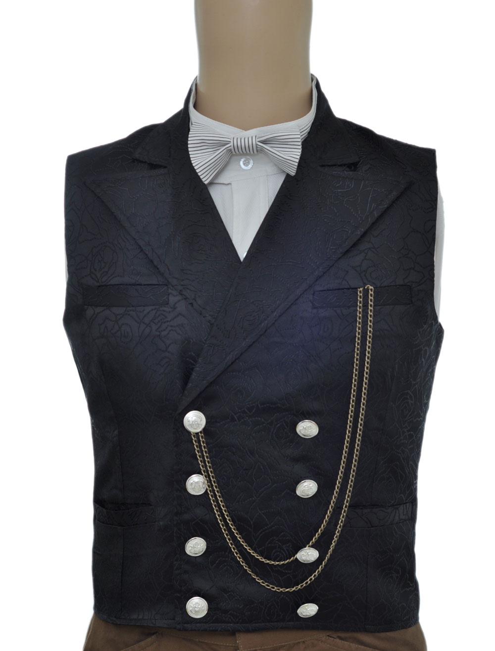 Buy Vintage Steampunk Waistcoat Black Men's Double Breasted Pocket Watch Chain Back Strap Jacquard Retro Suit Vest Halloween for $61.99 in Milanoo store