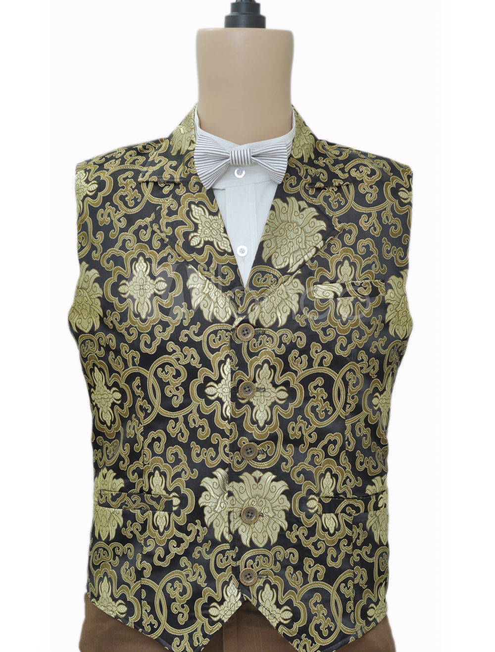 Buy Steampunk Men's Waistcoat Vintage Costume Clothing Jacquard Retro Suit Vest Halloween for $59.99 in Milanoo store