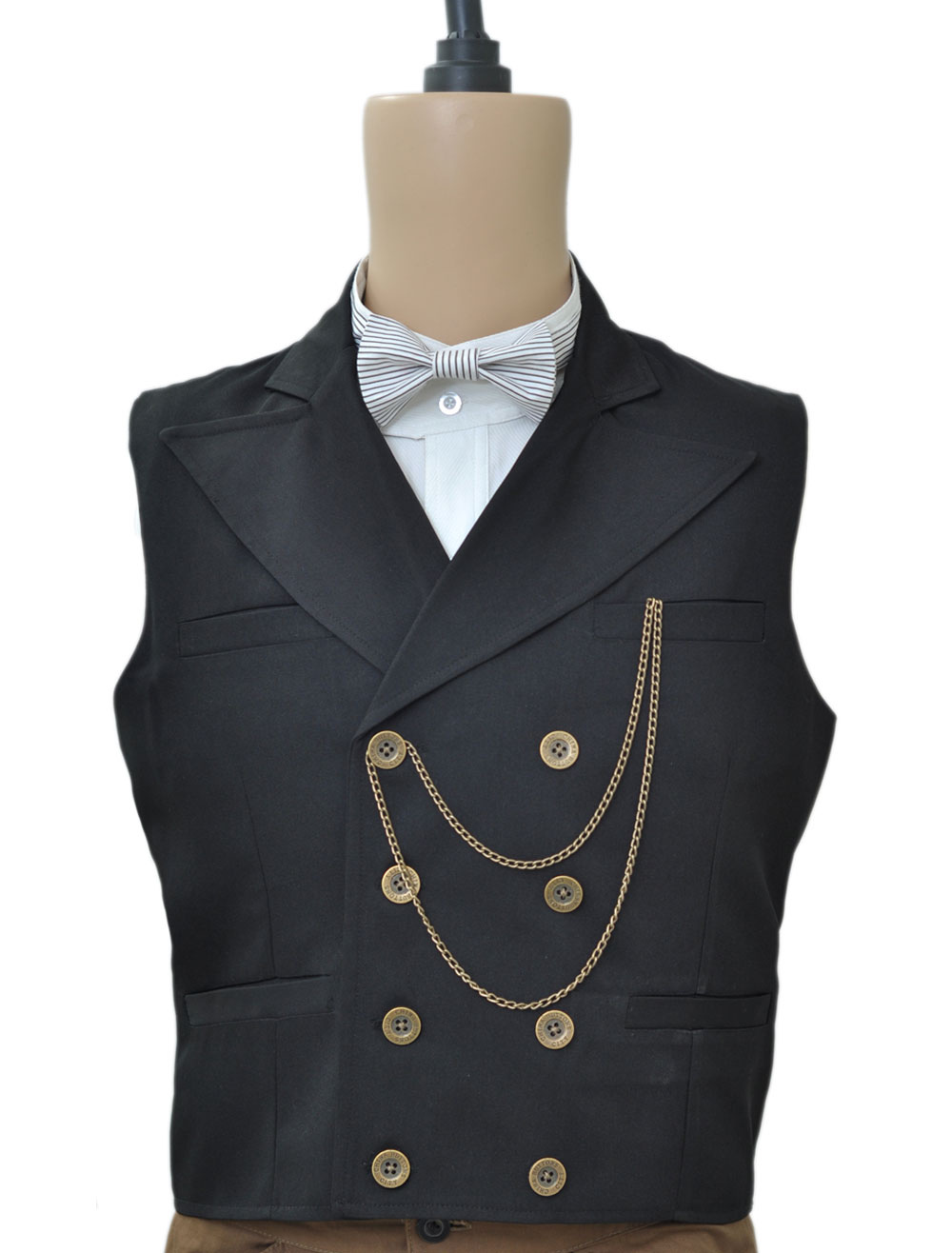 Buy Steampunk Vintage Waistcoat Black Men's Double Breasted Suit Vest Pocket Watch Chain Back Strap Retro Costume Halloween for $61.99 in Milanoo store