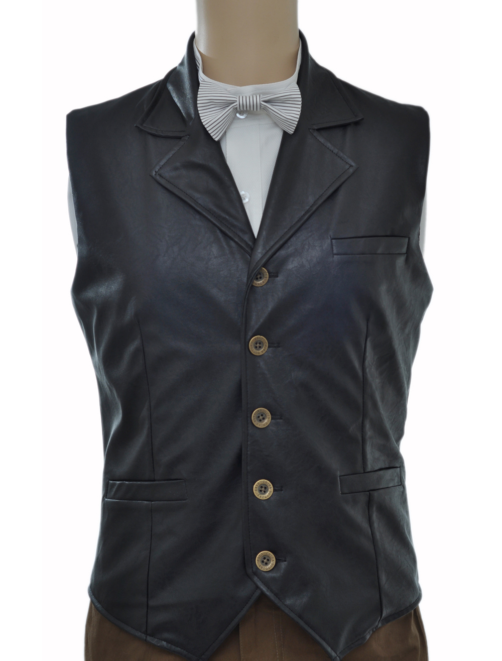 Buy Vintage Steampunk Costume Waistcoat Black Men's Faux Leather Retro Suit Vest Halloween for $59.99 in Milanoo store