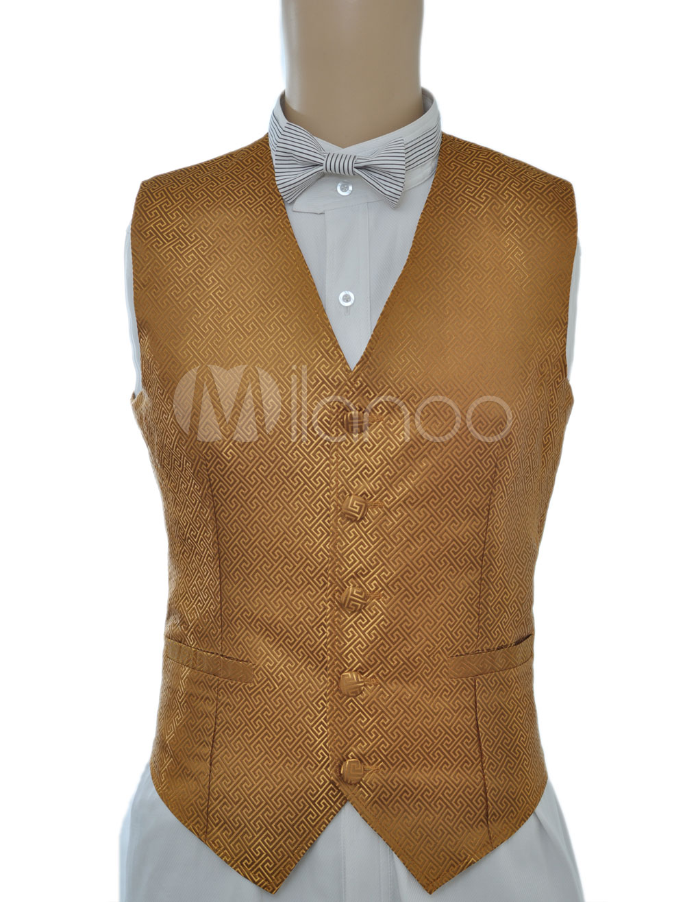 Buy Vintage Steampunk Costume Waistcoat Gold Men's Back Strap Retro Suit Vest Halloween for $57.99 in Milanoo store