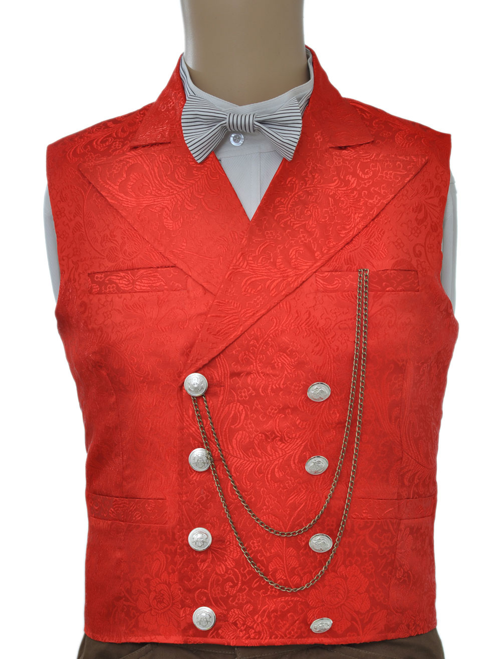 Buy Vintage Steampunk Waistcoat Red Men's Double Breasted Suit Vest Pocket Watch Chain Back Strap Jacquard Retro Costume Halloween for $57.94 in Milanoo store