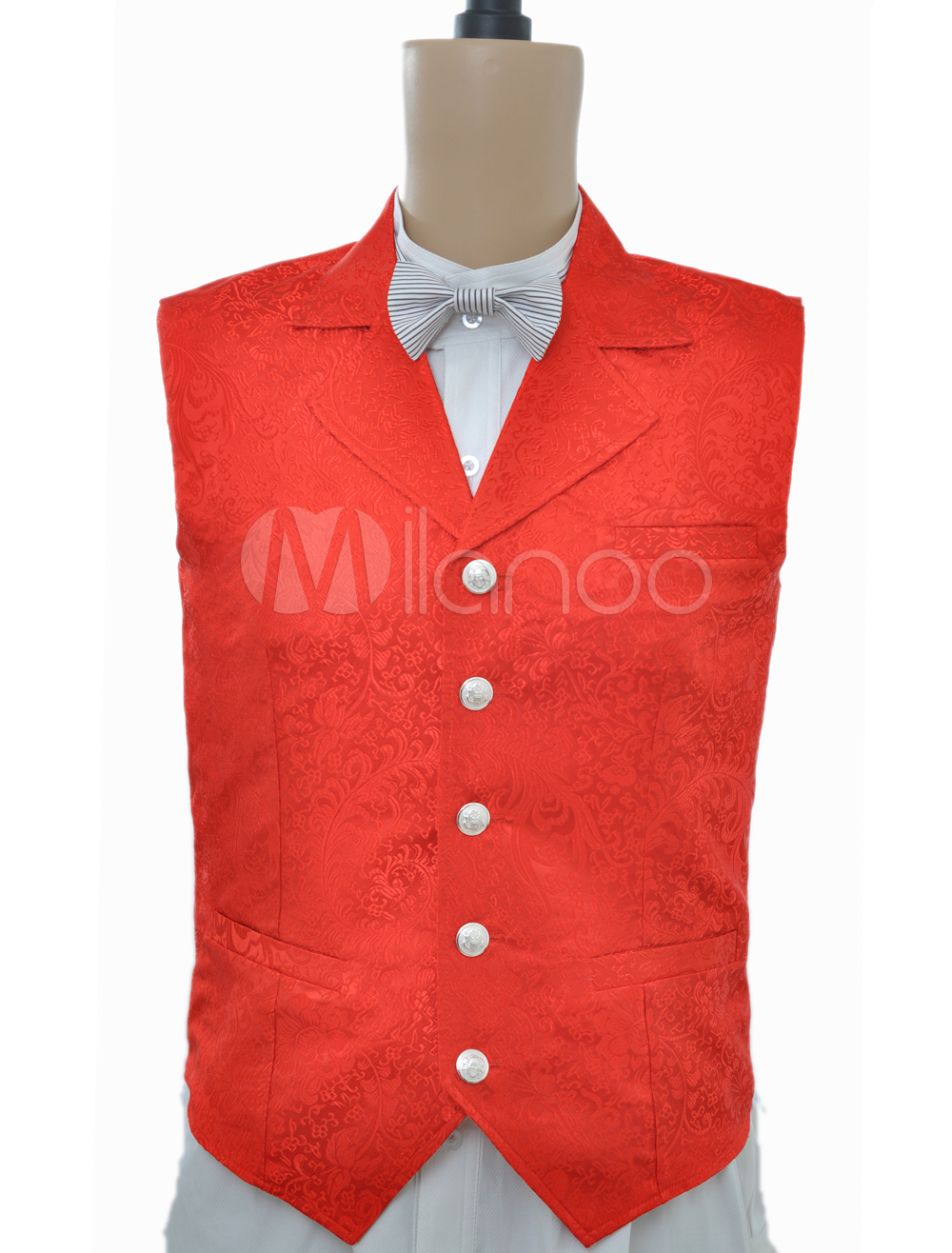 Buy Steampunk Vintage Costume Red Waistcoat Men's Back Strap Jacquard Retro Suit Vest Halloween for $59.99 in Milanoo store