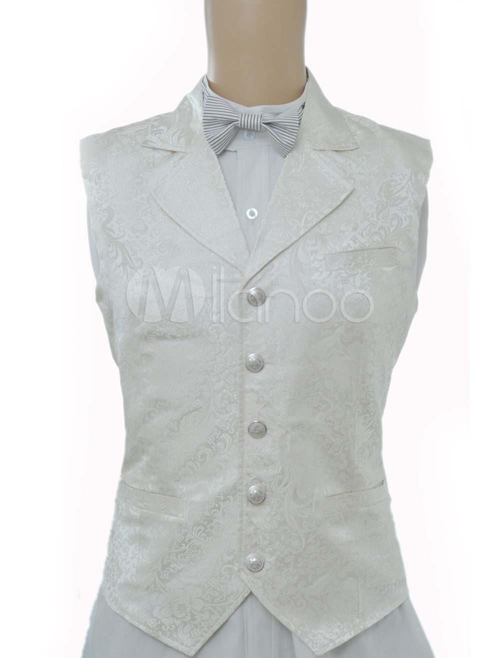 Buy Vintage Steampunk Costume White Men's Waistcoat Back Strap Retro Suit Vest Halloween for $53.99 in Milanoo store