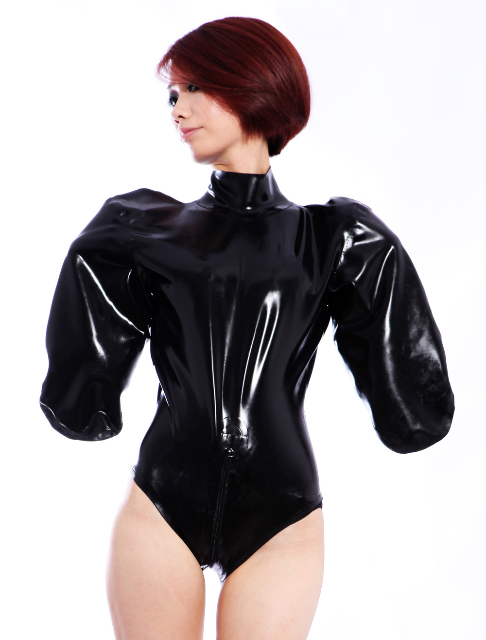 Halloween Unique Black One Piece Women's Latex Clothes(without sleeve opening) Halloween