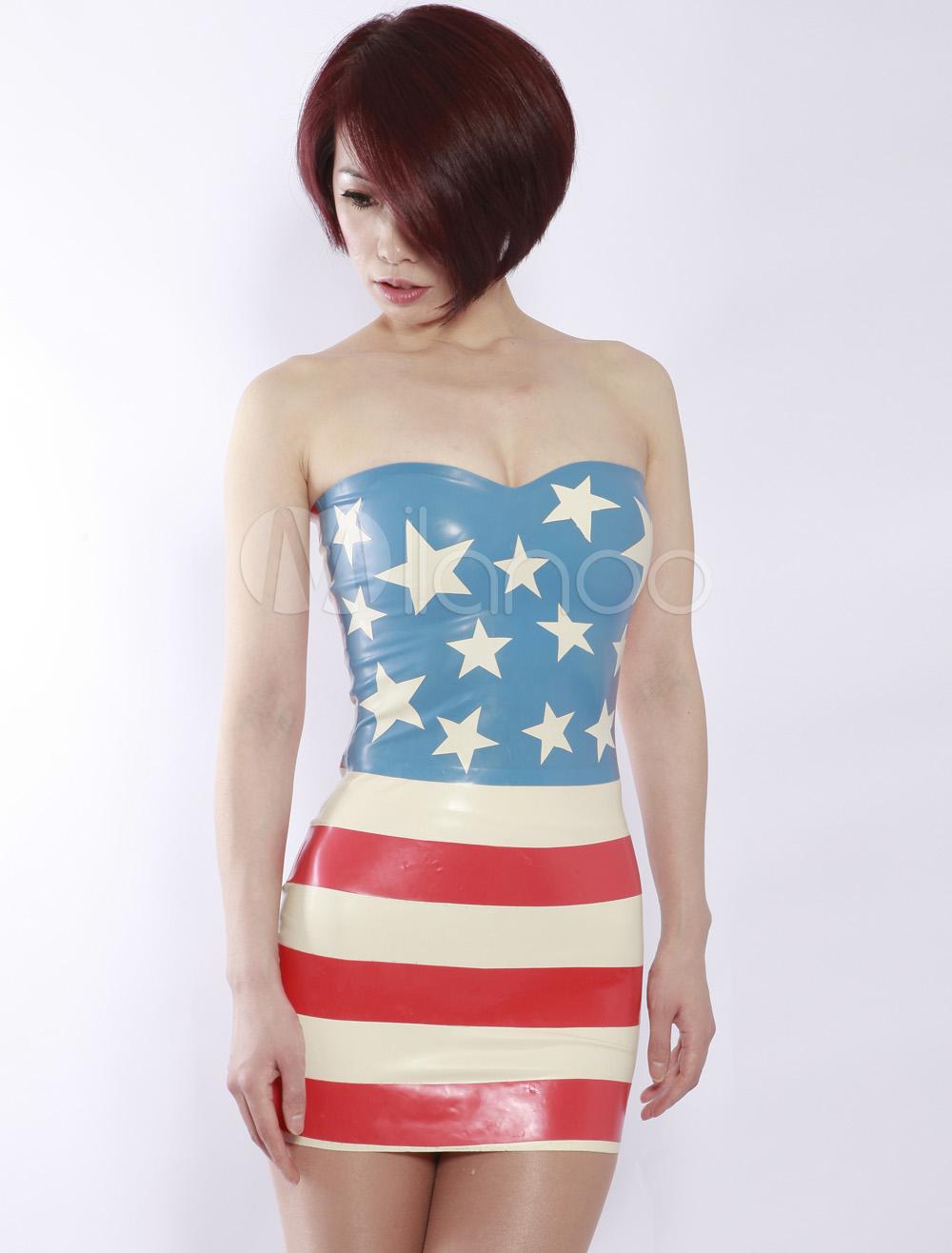 Halloween Stars And Stripes Sweetheart Women's Latex Dress Halloween