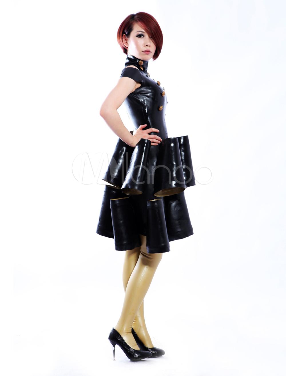 Halloween Grace Black Sleeveless Stand Collar Women's Latex Dress Halloween