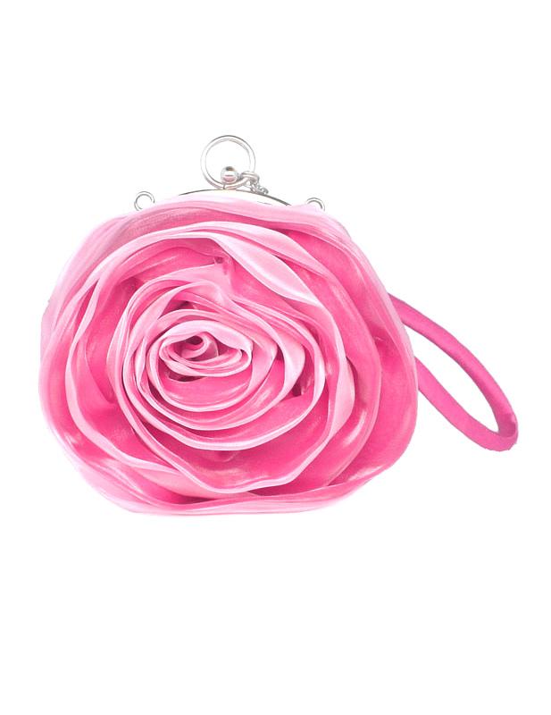 Grace Swirled Rosette Silk Evening Bag for Woman