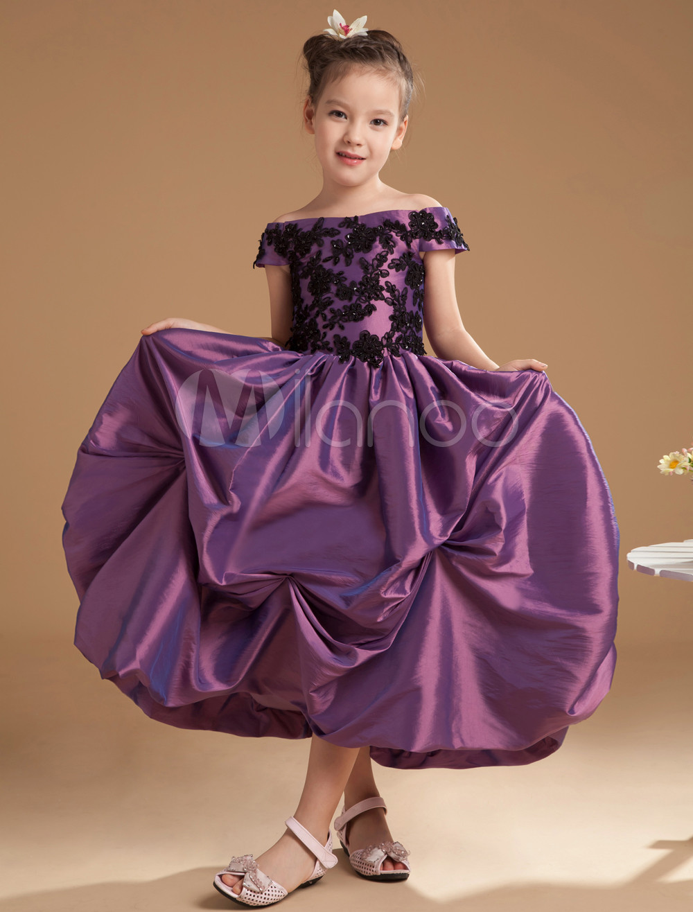 966effed168 Grace Grape Purple Satin Off The Shoulder Flower Girl Dress - Milanoo.com