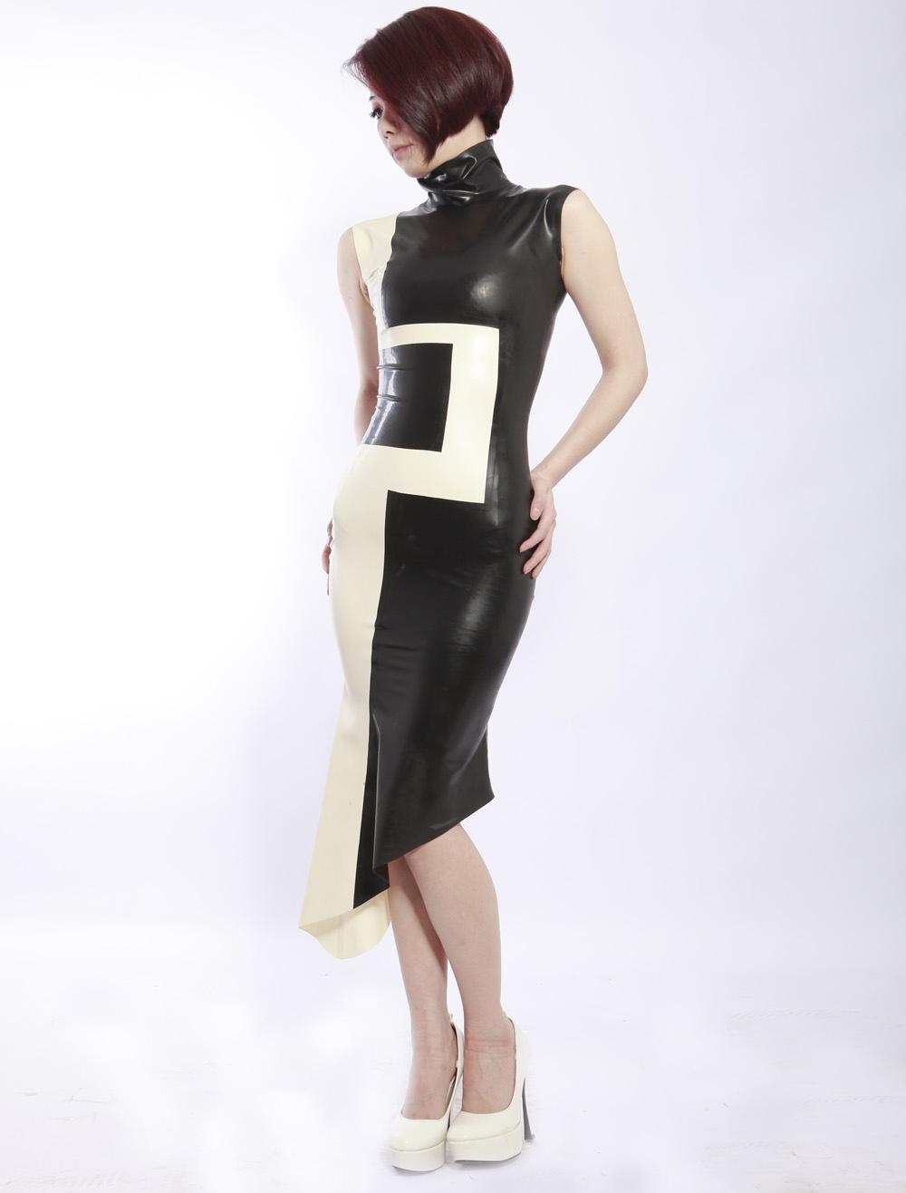 Halloween Color Blocking Elegant Stand Collar Sleeveless Women's Latex Dress Halloween