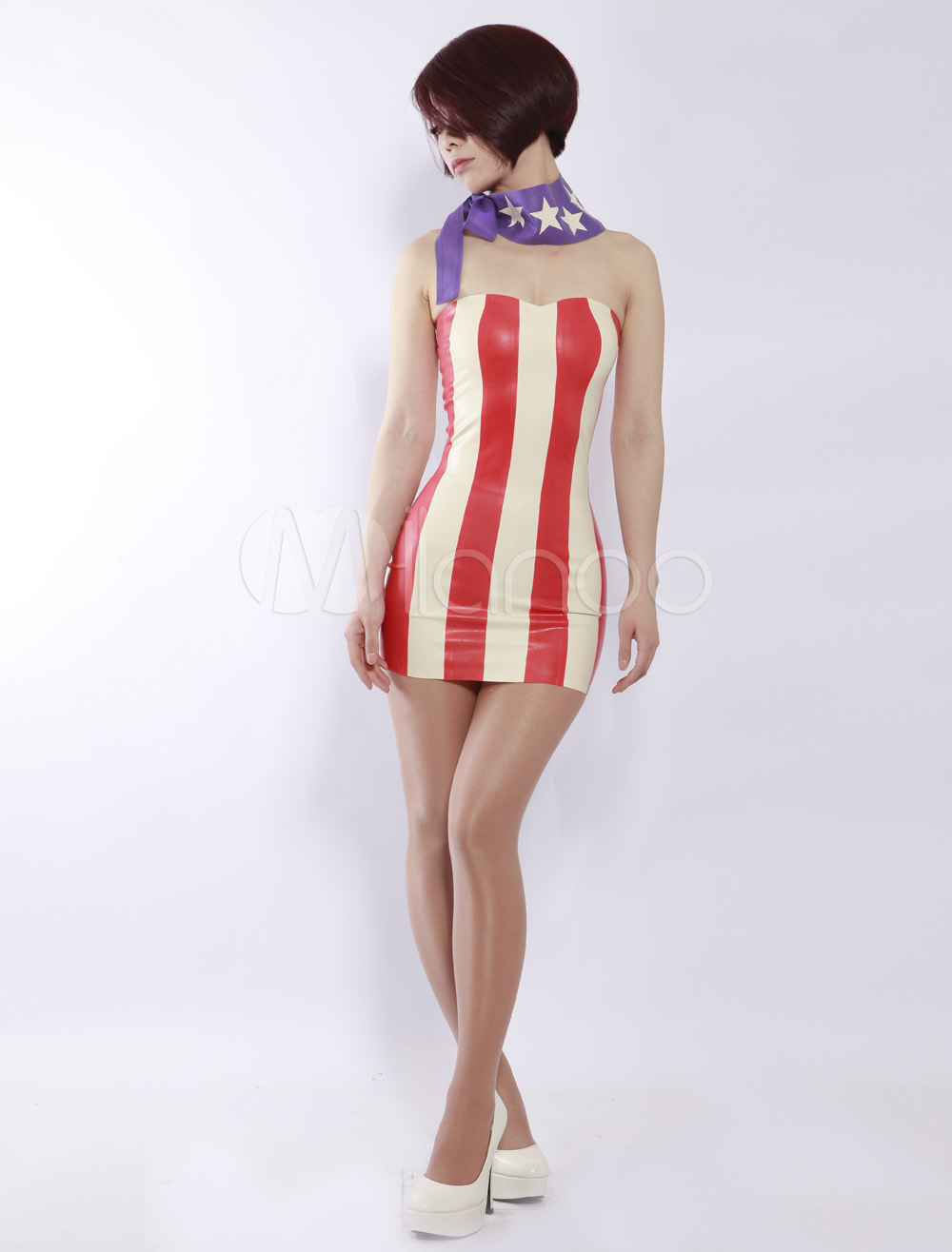 Halloween Red Stripe Pattern Strapless Women's Latex Dress With Scarf Halloween