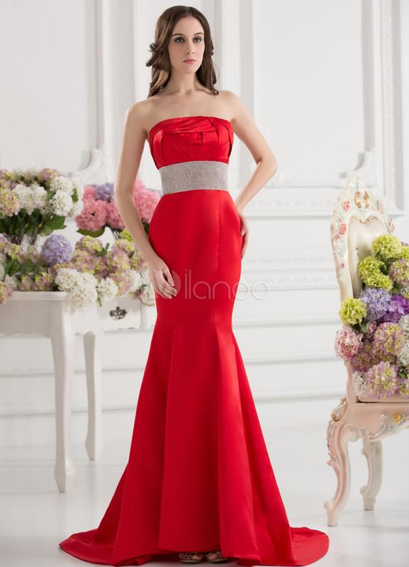 Robe de soiree rouge avec traine