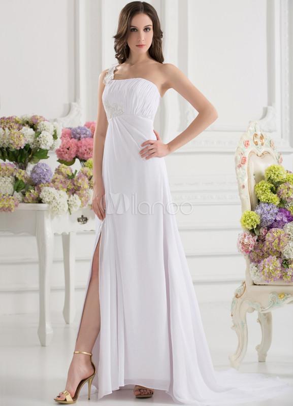9ecbf2700 Vestido de fiesta de color blanco con abertura de la pierna de cola  larga-No ...