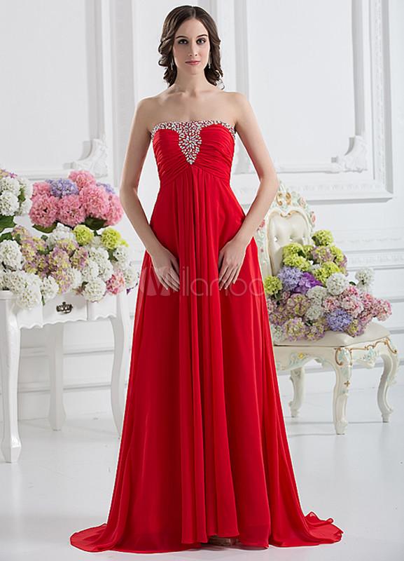 9f340b284 ... Vestido de noche de color rojo sin tirantes de cola barrida de estilo  moderno-No ...