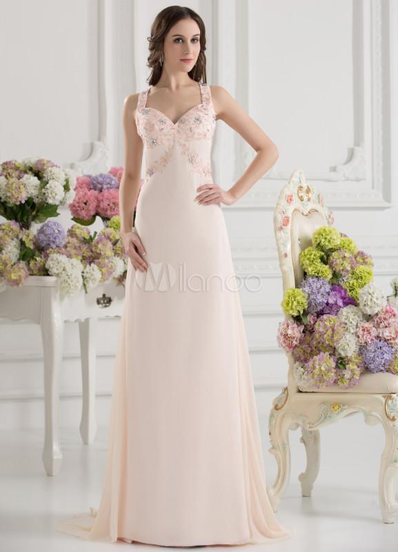 344a45559b Vestito da Galà roso elegante attillato scollato sulla schiena in chiffon c