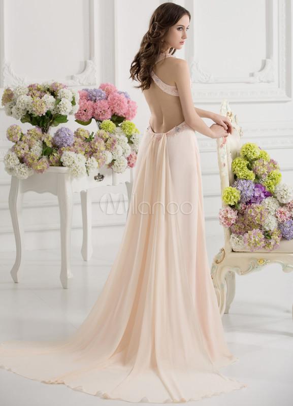 new style 30221 a956c Vestito da Galà roso elegante attillato scollato sulla schiena in chiffon c