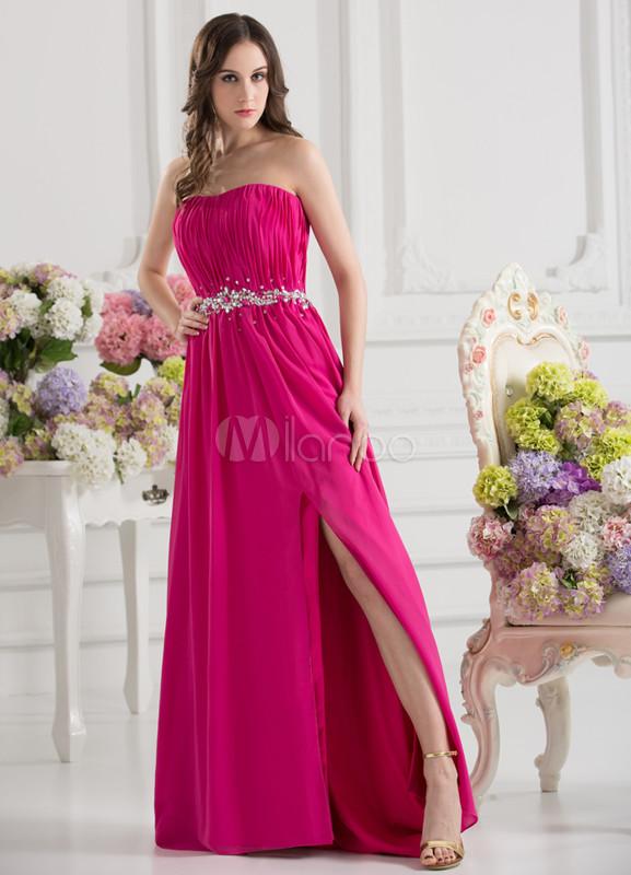 free shipping b053e ed169 Elegante abito da sera Sexy senza spalline bordare fucsia