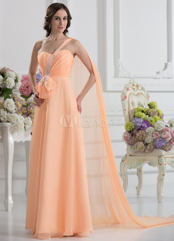 vestido de fiesta de color naranja de línea a de cola watteau