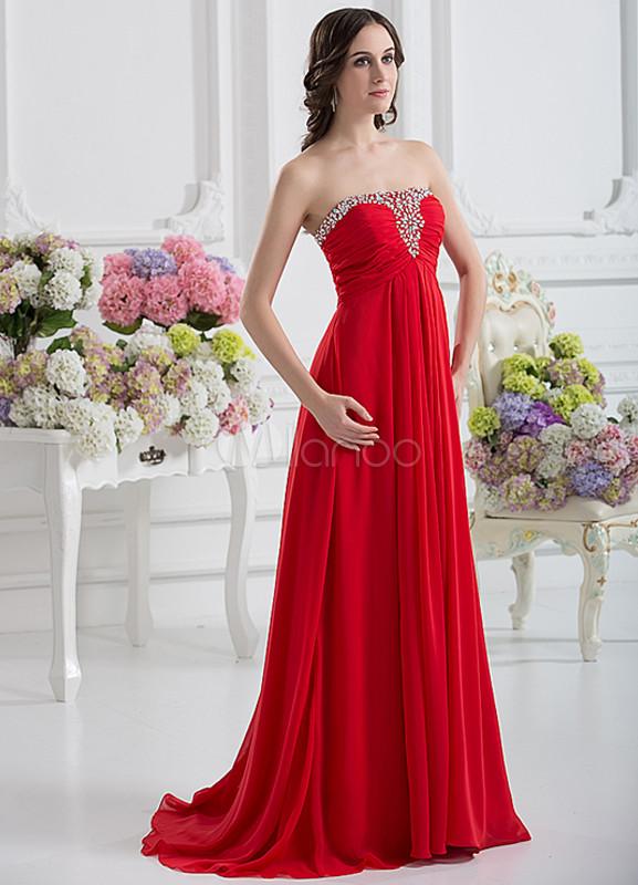 d8fec8065 Vestido de noche de color rojo sin tirantes de cola barrida de estilo  moderno-No ...