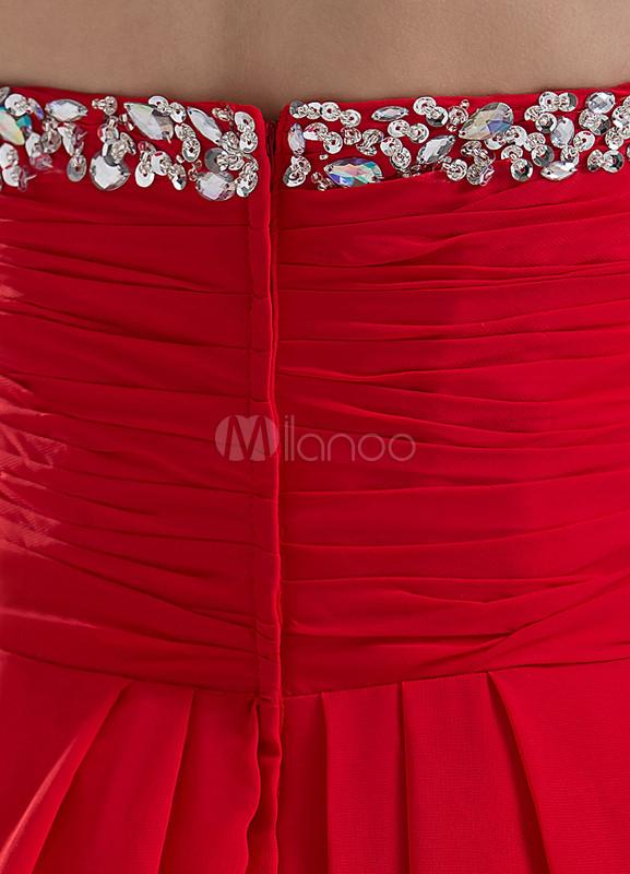 b57e01492 ... Vestido de noche de color rojo sin tirantes de cola barrida de estilo  moderno-No