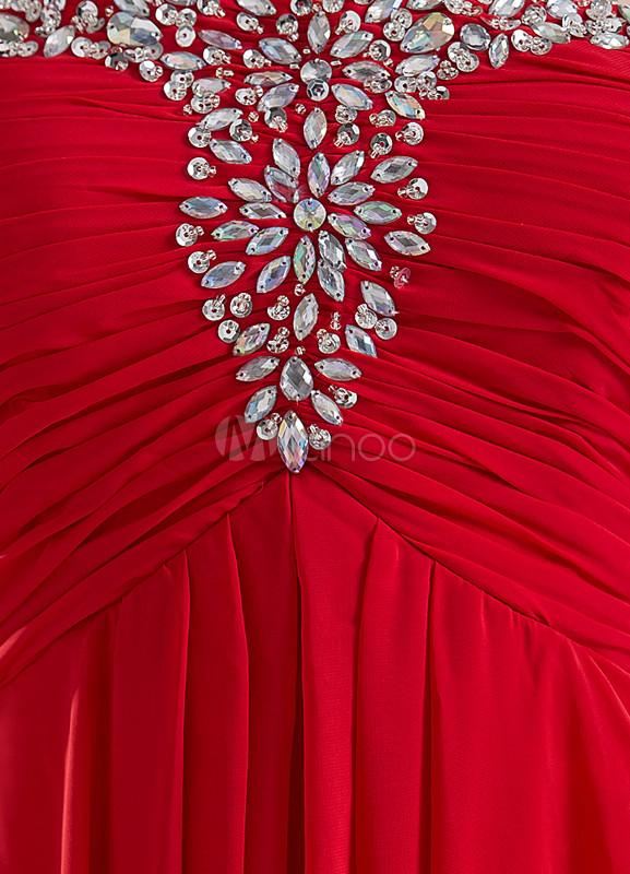 f5d79dda4 ... Vestido de noche de color rojo sin tirantes de cola barrida de estilo  moderno-No ...