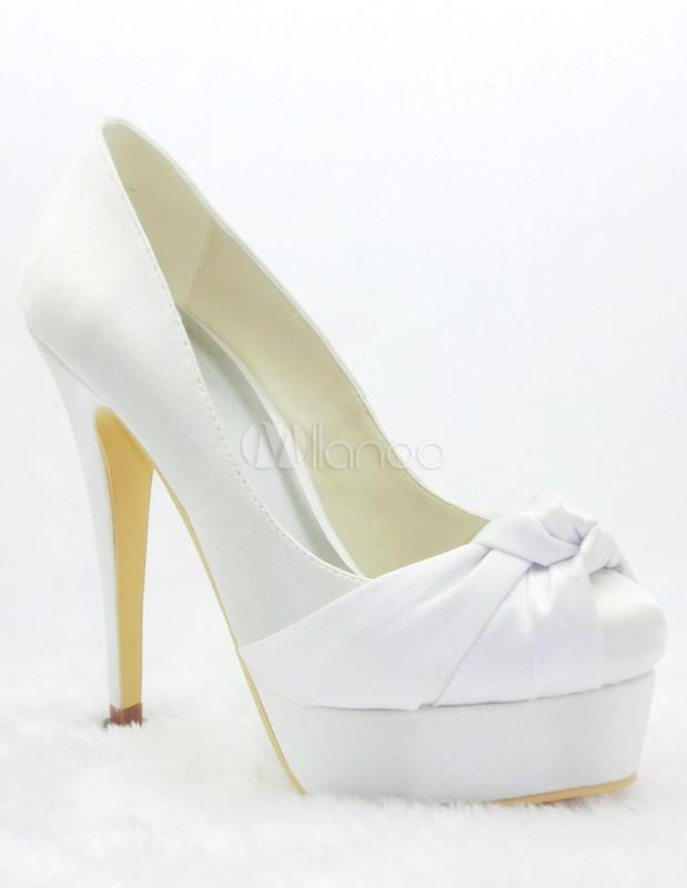 Grace White Satin Knot Pumps For Bride