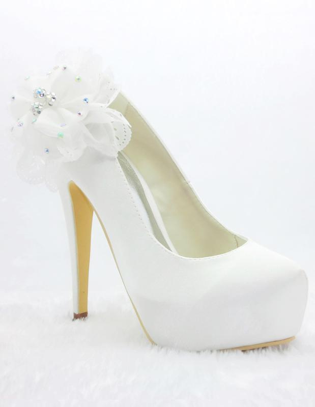 Noble White Satin Floral Wedding Pumps
