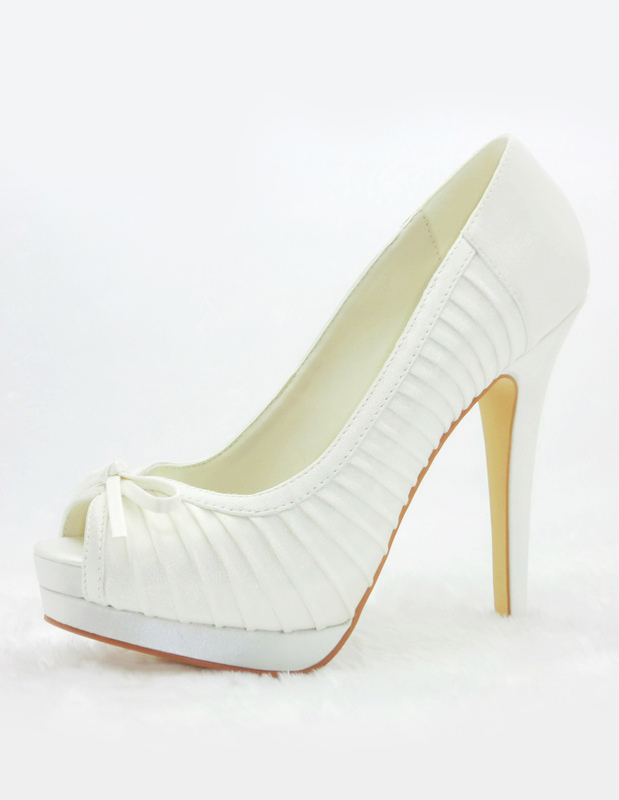 Popular Ivory Satin Bow Bridal Sandals