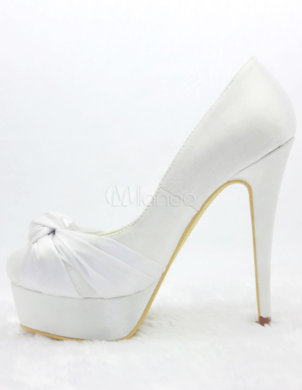 zapatos con plataforma para novias de satén blanco de tacón stiletto