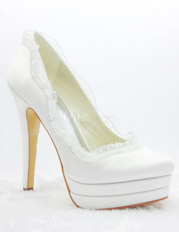 Charming White Satin High Heel Shoes For Bride