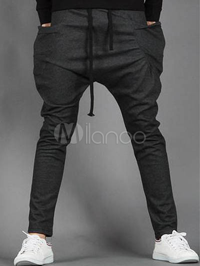 Popular Deep Gray Cotton Men's Harem Pants