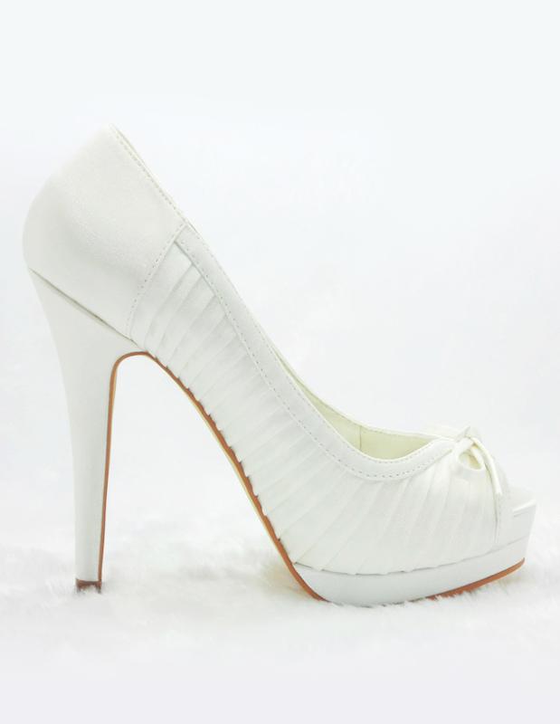 ... Chaussures nuptiales à plateforme ivoires avec noeud -No.4 ...