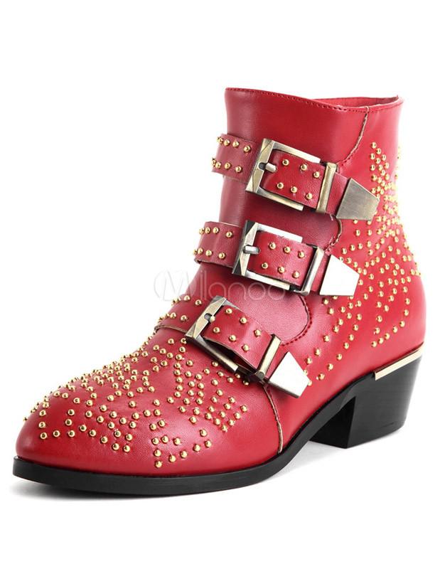 encontrar mano de obra tiendas populares nuevo estilo Rojo redondo del dedo del pie de cuero botines planos con estilo